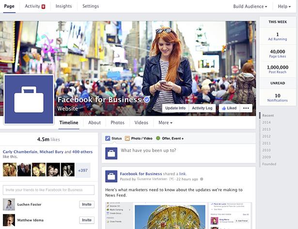 המראה החדש של פייסבוק 2014 Facebook Page New Layout