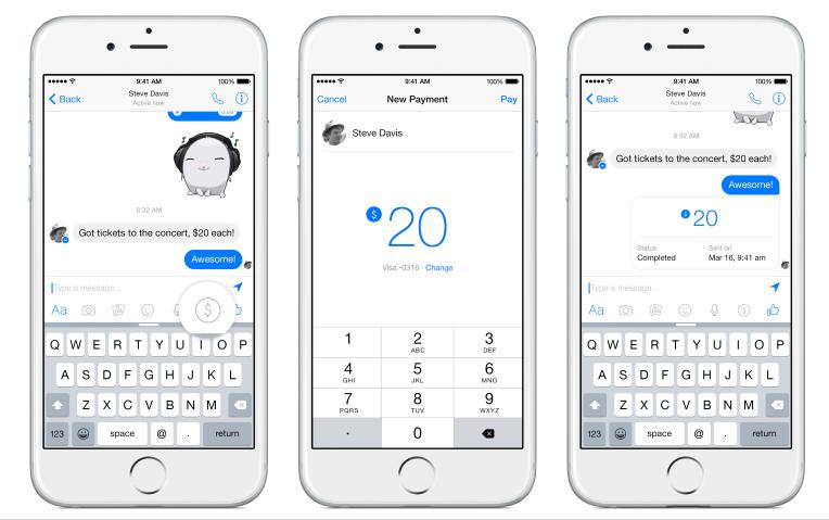 העברת תשלום דרך פייסבוק –  Facebook Money Transfer via Messenger